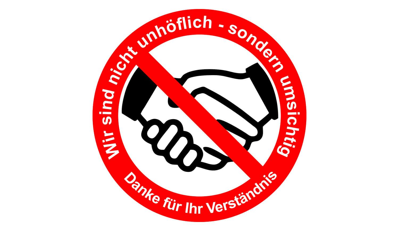 Hände schütteln verboten Sticker