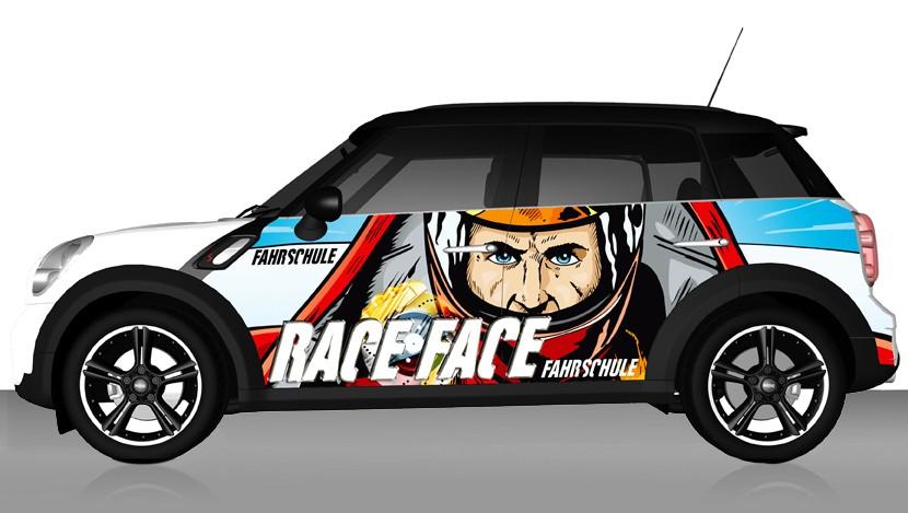Autowerbung Fahrschule Race Face