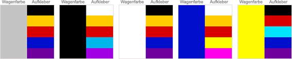 WrapArts - Tabelle: Farbübersicht
